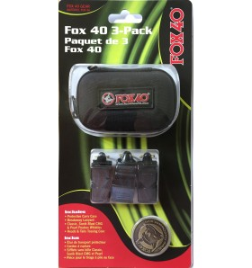 FOX40 3-Pack of Whistles and Tossing Coin with Pouch